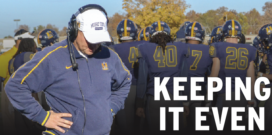 Photo illustration by Megan Godby and Ryan?Richardson/The News Head Coach Chris Hatcher hangs his head during a timeout in the loss to Eastern Illinois Saturday. The Racers now have a .500 record on the season and in the conference, where they currently rank sixth.