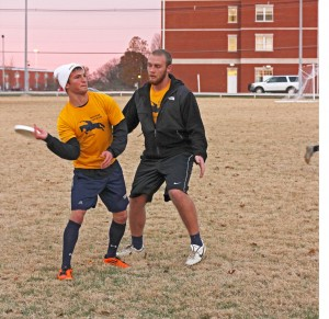 Kate Rusell/The News Sophomore Ray Hecht (right) defends a pass against sophomore Lorenzo Turi in an Ultimate Frisbee practice.