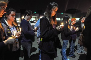Ana Bundy // The News /// A group of Murray State students gathers outside of the Curris Center at the end of the walk Monday night.