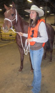 Alex Mahrenholz/The News Jessica Stewart, sophomore from Cerulean, Ky., showscases her horse handling skills.