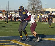 Lori Allen/The News Freshman tight end Jesse Blackburn comes down with the game-winning touchdown in the overtime victory against EKU.