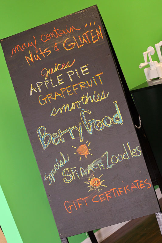 Jenny Rohl/The News 3 Hearts Yoga displays a sign showing different blends available daily in the studio's in-house juice bar.