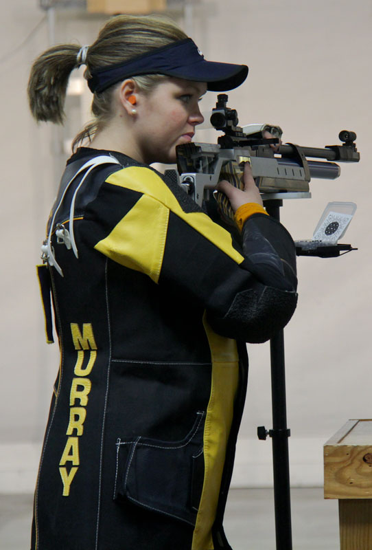 Lori Allen/The News Sophomore Tessa Howald prepares to shoot during the OVC Championships.