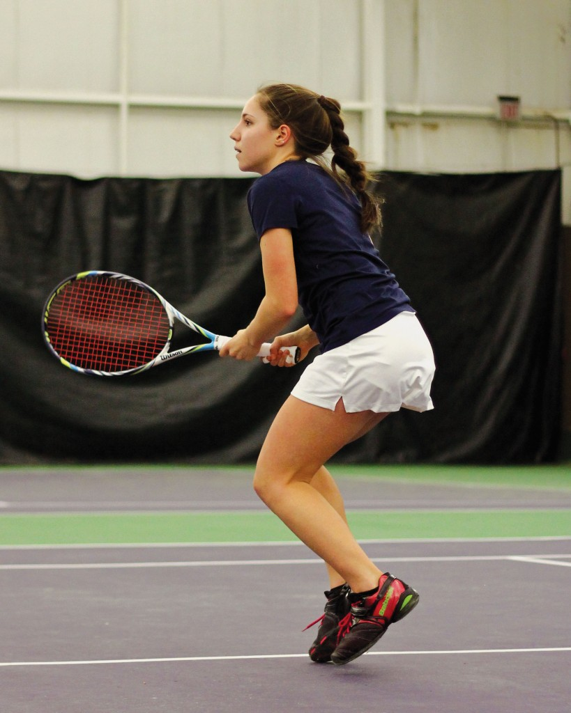 Kate Russell/The News Sophomore Megan Blue prepares to return a volley in a match at Kenlake State Park.