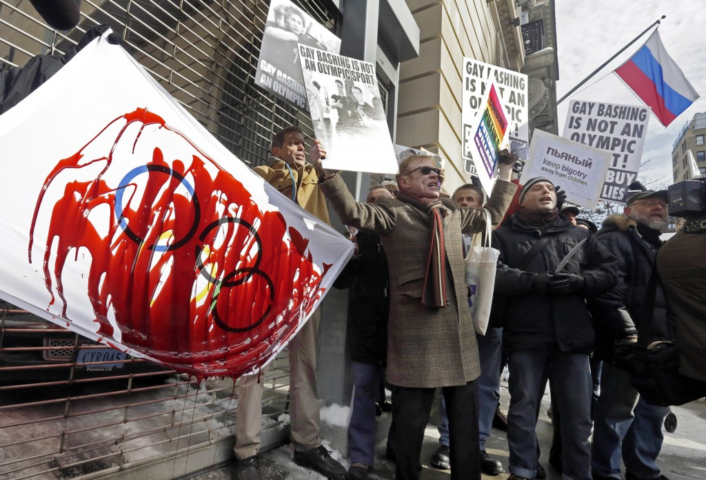 Richard Drew/Associated Press Demonstrators mark the start of the 2014 Winter Olympic Games with a protest in New York Feb. 6.