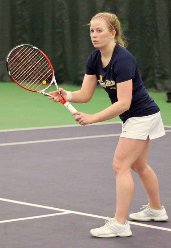 Kate Russell/The News Sophomore Erin Patton gets ready to receive serve during a tennis match earlier this week.