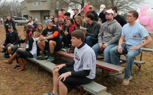 Jenny Rohl/The News Students watch Strikeout Arthritis, a philanthropy event held by Alpha Omicron Pi Saturday to raise money for arthritis research.
