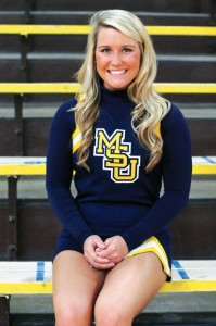 Jenny Rohl/The News Senior captain Allison Petterson looks back on her career as a Racer cheerleader.