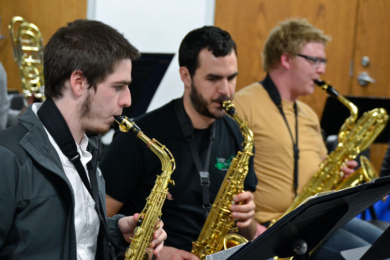 """Megan Godby/The News Members of one of Murray State's jazz ensembles practice for """"Swing into Spring."""""""
