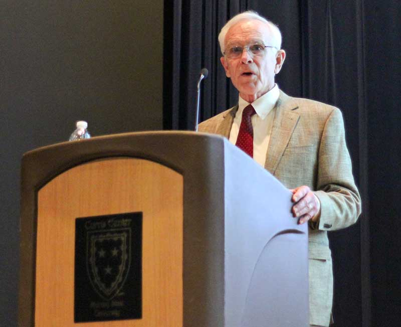 Kate Russell/The News Interim President Tim Miller discusses the condition of Murray State's budget Thursday afternoon.