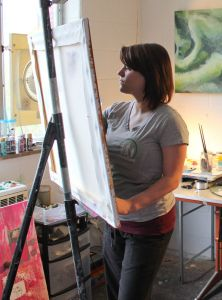 Kate Russell/The News Kayla Wall, senior and art education major from Mayfield, Ky., works in a Woods Hall art studio reserved for students.