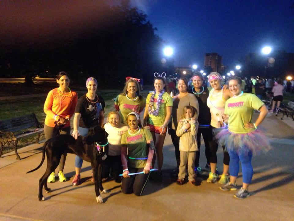 "Photo courtesy of CrossFit Murray CrossFit Murray won an award for ""Most Spirited Team"" at Tri-Sigma's annual glow run."