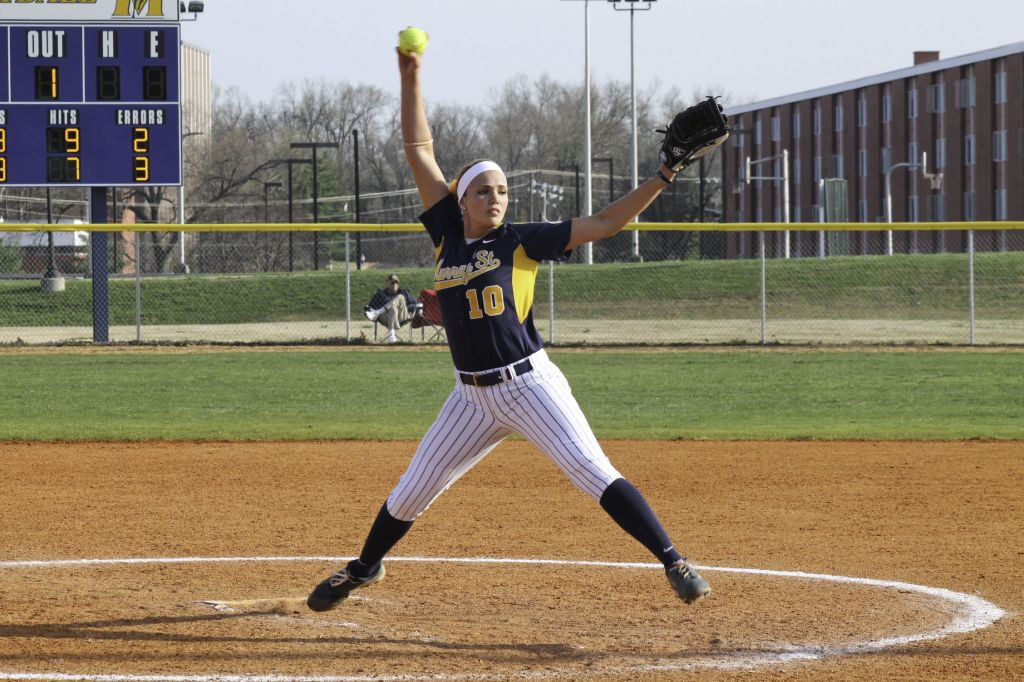 Jenny Rohl/The News Sophomore J.J. Francis pitches against the University of Evansville at Racer Field April 10.