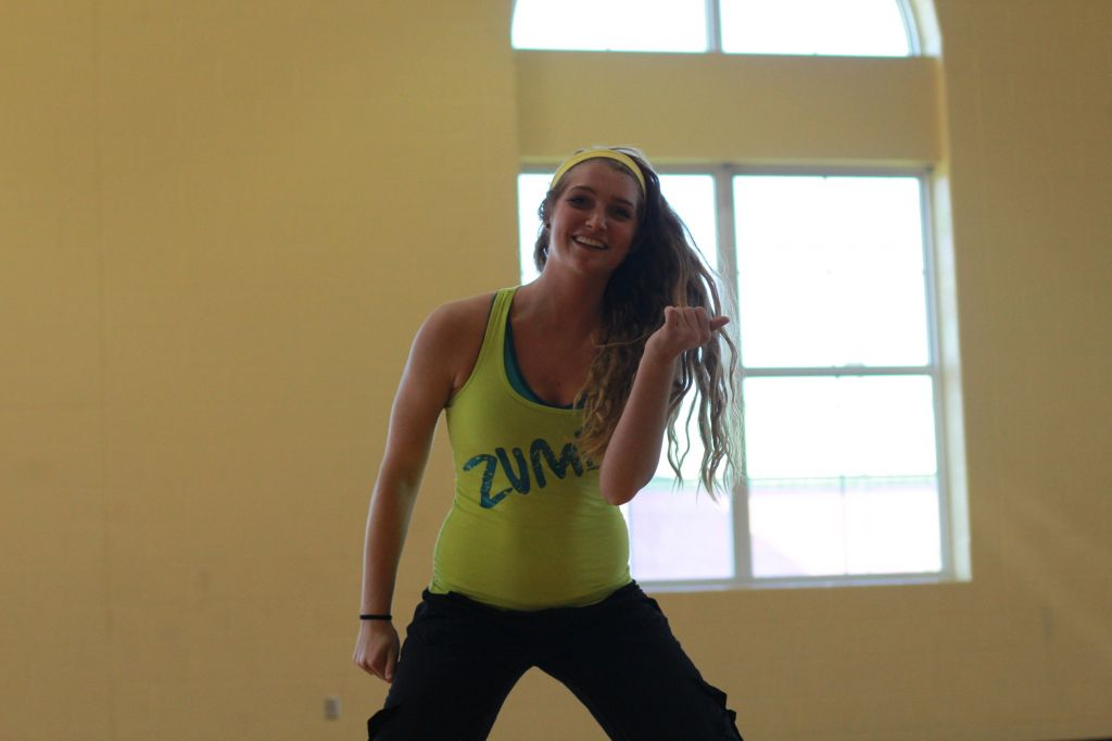 Fumi Nakamura/TheNews Ashley Dawson, freshman from Murray, teaches Zumba on Mondays and Wednesdays.