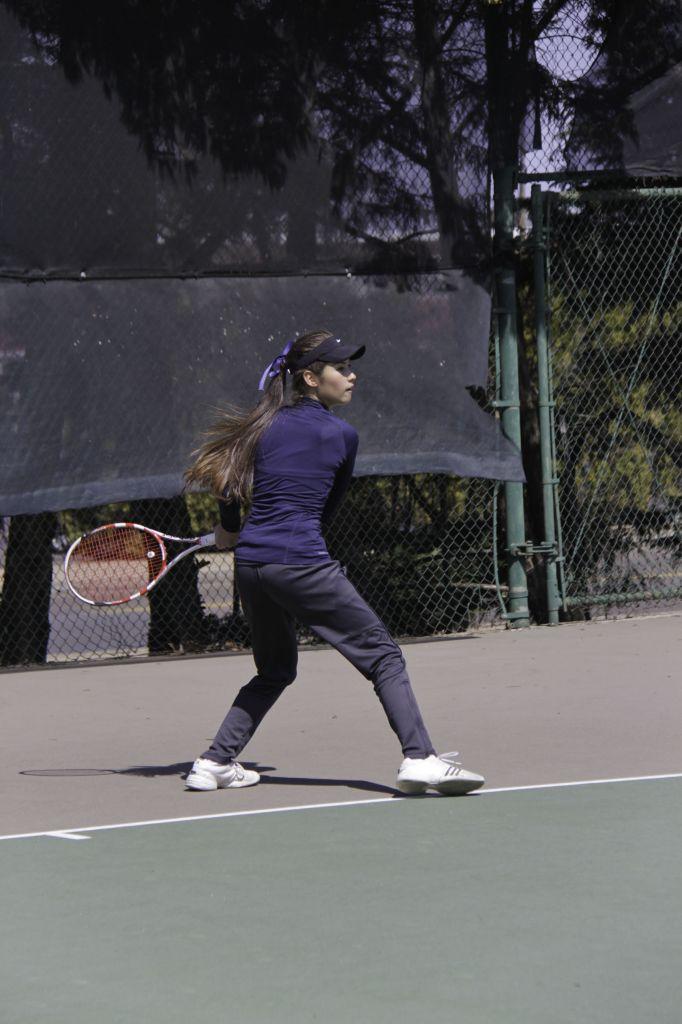 Lori Allen/The News Freshman Verginie Tchakarova plays against Belmont at the Bennie Purcell Tennis Courts.