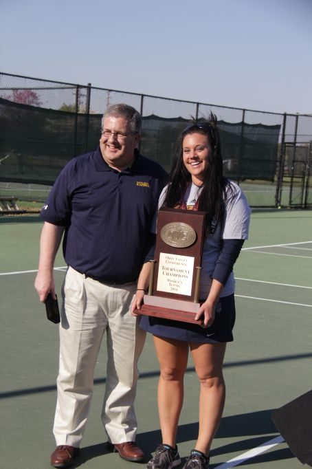 Lori Allen/The News Former Head Coach Olga Elkin poses with Athletic Director Allen Ward at the OVC Championships April 19 in Paducah, Ky.