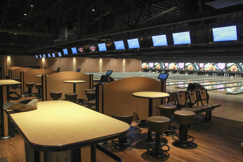 Fumi Nakamura/The News Corvette Lanes features modernized tables and seating. The bowling alley now has 18 freshly built lanes, as well.