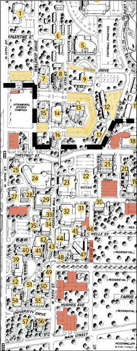 Summer Bush/The News Areas shaded on the map above the dotted line are on-campus student parking lots. Areas below the dotted line are commuter parking lots. Original map courtesy of murraystate.edu.