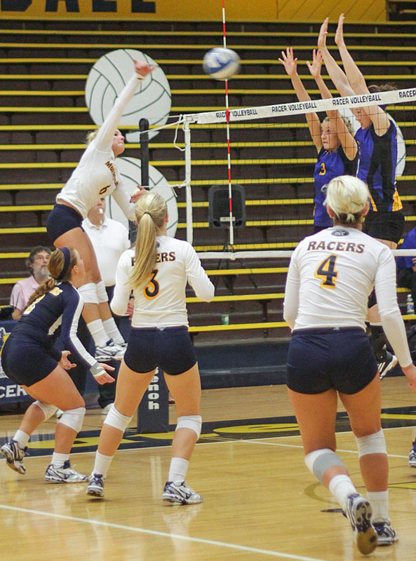 Lori Allen/The News Taylor Olden spikes the ball during a home game last season against Morehead State.