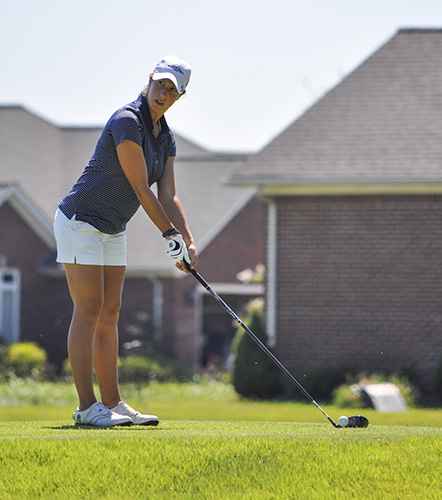 Kylie Townsend/The News Senior Gina Nuzzo plays at Drake Creek Golf Course Sept. 9.