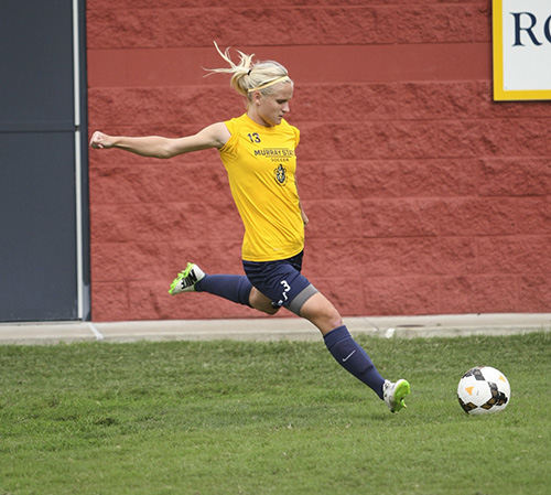 Haley HaysThe News Senior forward Pavlina Nepokojova prepares to kick during practice at Cutchin Field.