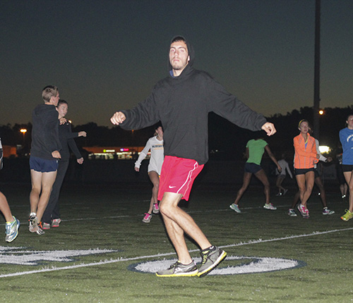 Jenny Rohl/The News Freshman Mark Venura practices agilities with the cross country team at Stewart Stadium Sept. 24.