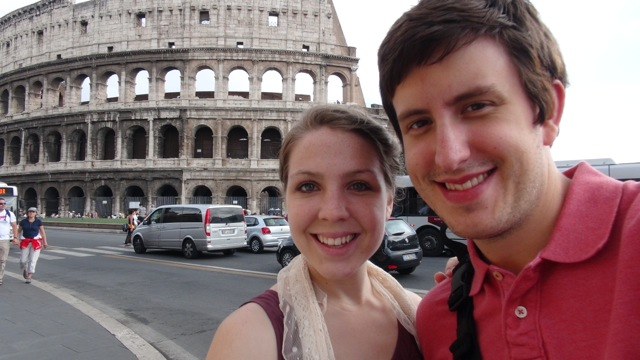 Photo submitted by Jason Morrow Jason Morrow and wife, Emily, pose for a selfie in front of the Colosseum in Rome, Italy.