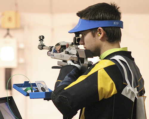 Jenny Rohl/The News Jack Berhorst, sophomore from Lawson, Mo. competes in the Murray State Tri-Match at the Pat Spurgin Rifle Range last weekend.