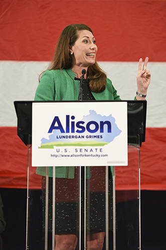 Kory Savage/The News Alison Lundergan Grimes speaks to a crowd of supporters in Paducah, Ky., last week.