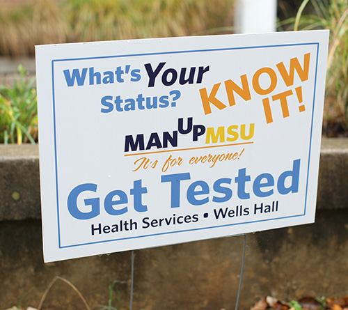 """Haley Hayes/The News """"Man Up Monday,"""" a program created by Health Services, urges men on campus to get tested for HIV and STIs."""