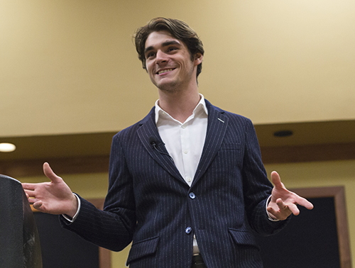 Fumi Nakamura/The News RJ Mitte spoke to students Wednesday about his struggles with cerebral palsy and overcoming his disability.