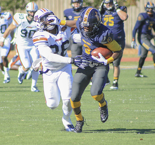 Kalli Bubb/The News Junior wide receiver Jeremy Harness runs the ball against UT Martin Nov. 1.