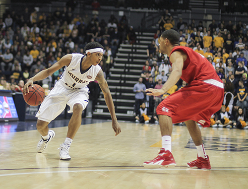 Jenny Rohl/The News Sophomore point guard Cameron Payne faces off against a Houston defender Nov. 14 at the CFSB Center.
