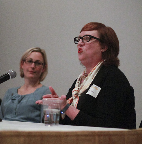 Jenny Rohl/The News Kristie Helms, class of '93, speaks about how her time at Murray State taught her to take initiative in her career.