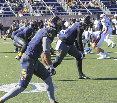 Kalli Bubb/The News The Racers line up to take on the UT Martin Skyhawks Nov. 1 at Roy Stewart Stadium.