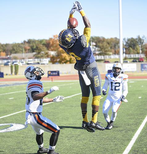 Kory Savage/The News Junior wide receiver Janawski Davis, catches the ball at the UT Martin game Saturday, Nov. 1.