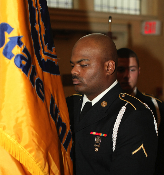 Haley Hays/The News A member of the MSU Army ROTC Color Guard presenting the colors at the Veterans Day ceremony.