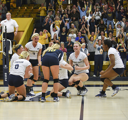 Kory Savage/The News The team and its fans celebrate the OVC Tournament Championship Nov. 22 at Racer Arena.