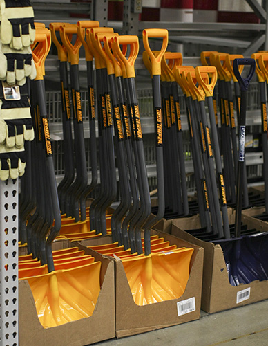 Haley Hays/The News Shovels at Wal-Mart were stocked up for the winter season in anticipation of snow, which caused multiple consecutive snow days for Murray State last year.