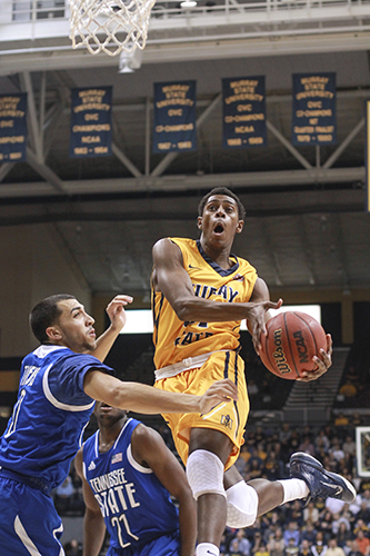 Jenny Rohl/The News Junior forward Jeffery Moss goes up for a layup against Tennessee State at the CFSB Center Saturday. Moss tallied 13 points during the game and approaches 1,000 career points at Murray State with a total of 795.