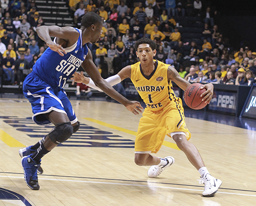 Jenny Rohl/The News Sophomore point guard Cameron Payne leads the Murray State offense against Tennessee State Saturday at the CFSB Center. The Racers defeated the Tigers 91-72.