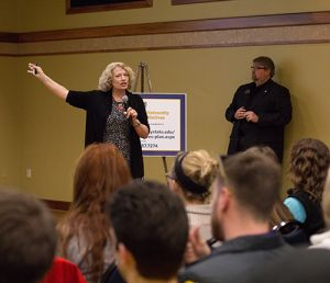 File Photo/The News Renae Duncan, who will become interim provost and vice president of Academic Affairs effective April 1, speaks at a January 2015 meeting with Tim Todd, who she is replacing.