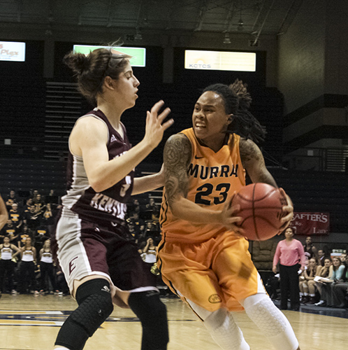 Kalli Bubb/The News Guard LeAsia Wright tries to drive against Eastern Kentucky University during the Racers' 64-59 loss Jan. 22.