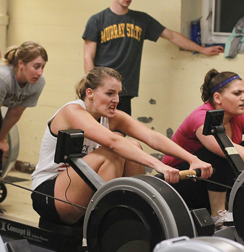 Jenny Rohl/The News The rowing team practices on ergometers during the fall season to prepare for rowing on the water in the spring.