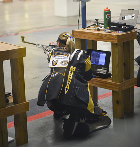 Kory Savage/The News Junior Tessa Howald led the Racers in smallbore during the Withrow Open at the Pat Spurgin Rifle Range Sunday.