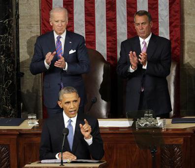 J. Scott Applewhite/AP Photo Vice President Joe Biden and House Speaker John Boehner applaud President Barack Obama during his State of the Union address.