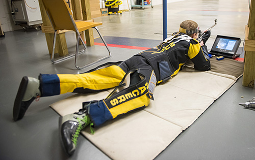 Kory Savage/The News Freshman Ivan Roe from Manhattan, Mont., practices a prone position for smallbore before the team's match Saturday against Columbus State and Jacksonville State on Sunday.