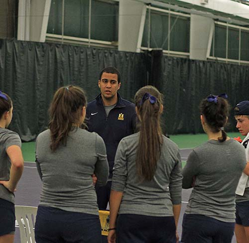 Photo Courtesy of Murray State Athletics/The News Head Coach Jorge Caetano coaching at the match against Lipscomb University.