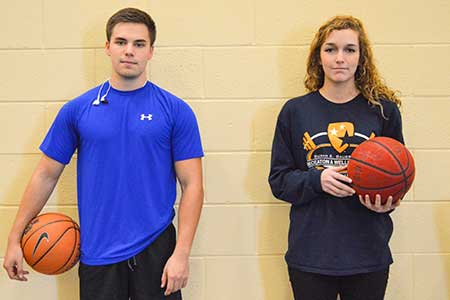 Hannah Fowl/The News Matt Bendt, senior from Ballwin, Mo., and Carley Sommer, senior from St. Louis, suit up for a game of basketball.
