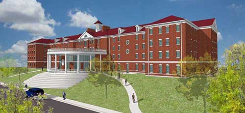 Courtesy of Jason Youngblood This rendering of the new Franklin Residential College, facing Chestnut Street, will be updated in the next few weeks after the next Board of Regents meeting.